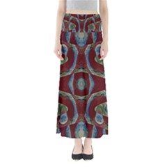 Fancy Maroon Blue Design Maxi Skirts
