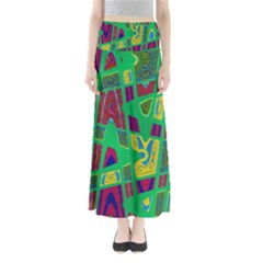 Bright Green Mod Pop Art Maxi Skirts