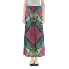 Pink Turquoise Stone Abstract Maxi Skirts
