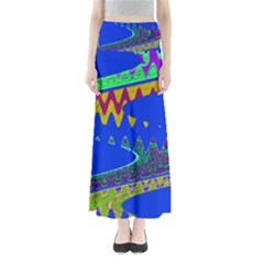 Colorful Wave Blue Abstract Maxi Skirts