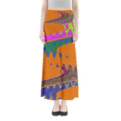 Colorful Wave Orange Abstract Maxi Skirts
