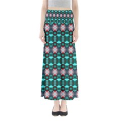 Fancy Teal Red Pattern Maxi Skirts