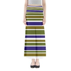Olive Green Blue Stripes Pattern Maxi Skirts