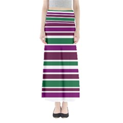 Purple Green Stripes Maxi Skirts