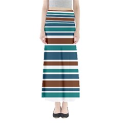 Teal Brown Stripes Maxi Skirts