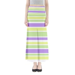 Yellow Purple Green Stripes Maxi Skirts