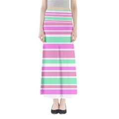 Pink Green Stripes Maxi Skirts