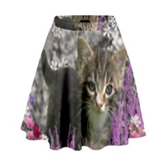 Emma In Flowers I, Little Gray Tabby Kitty Cat High Waist Skirt