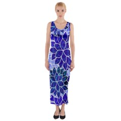 Azurite Blue Flowers Fitted Maxi Dress