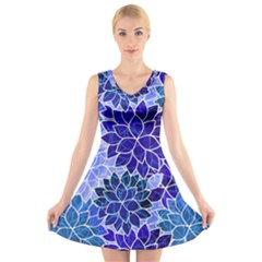 Azurite Blue Flowers V Neck Sleeveless Skater Dress