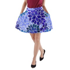 Azurite Blue Flowers A-Line Pocket Skirt