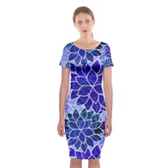 Azurite Blue Flowers Classic Short Sleeve Midi Dress