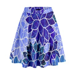 Azurite Blue Flowers High Waist Skirt