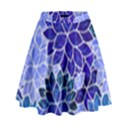 Azurite Blue Flowers High Waist Skirt View1