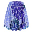 Azurite Blue Flowers High Waist Skirt View2