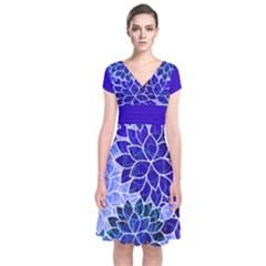 Azurite Blue Flowers Wrap Dress
