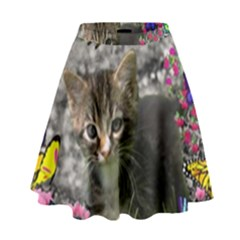 Emma In Butterflies I, Gray Tabby Kitten High Waist Skirt