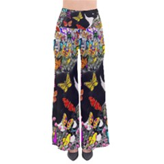 Freckles In Butterflies I, Black White Tux Cat Women s Chic Palazzo Pants