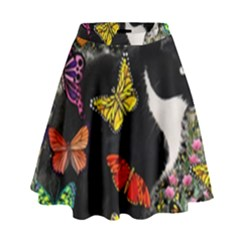 Freckles In Butterflies I, Black White Tux Cat High Waist Skirt