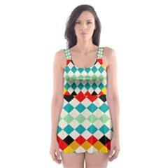 Rhombus pattern                                                              Skater Dress Swimsuit