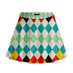 Rhombus pattern                                                                Mini Flare Skirt