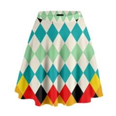 Rhombus pattern                                                                High Waist Skirt