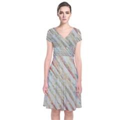 Diagonal stripes painting                              Short Sleeve Front Wrap Dress