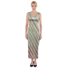 Diagonal Stripes Painting                                                               Fitted Maxi Dress