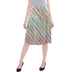 Diagonal Stripes Painting   Midi Beach Skirt