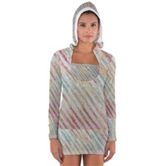 Diagonal stripes painting                                                               Women s Long Sleeve Hooded T-shirt