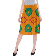 Rhombus And Leaves    Midi Beach Skirt