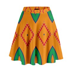 Rhombus and leaves                                                                  High Waist Skirt