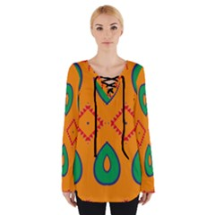 Rhombus and leaves                                                                 Women s Tie Up Tee