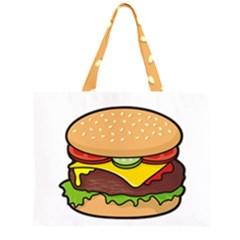 Cheeseburger Zipper Large Tote Bag