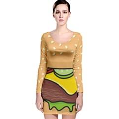 Cheeseburger Long Sleeve Velvet Bodycon Dress