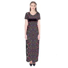 Open Window Short Sleeve Maxi Dress