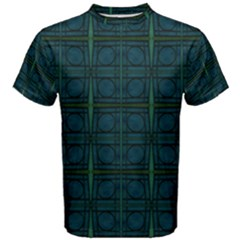Dark Blue Teal Mod Circles Men s Cotton Tee