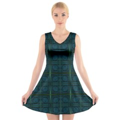 Dark Blue Teal Mod Circles V-Neck Sleeveless Skater Dress