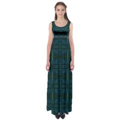 Dark Blue Teal Mod Circles Empire Waist Maxi Dress