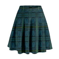 Dark Blue Teal Mod Circles High Waist Skirt