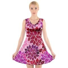 Rose Quartz Flowers V-Neck Sleeveless Skater Dress