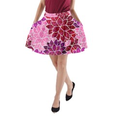 Rose Quartz Flowers A Line Pocket Skirt
