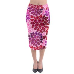 Rose Quartz Flowers Midi Pencil Skirt