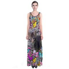 Emma In Butterflies I, Gray Tabby Kitten Sleeveless Maxi Dress