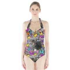 Emma In Butterflies I, Gray Tabby Kitten Women s Halter One Piece Swimsuit