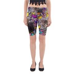 Emma In Butterflies I, Gray Tabby Kitten Yoga Cropped Leggings