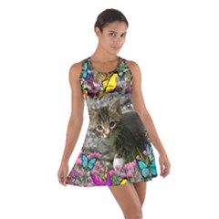 Emma In Butterflies I, Gray Tabby Kitten Racerback Dresses