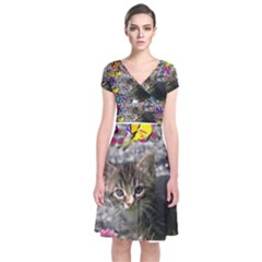 Emma In Butterflies I, Gray Tabby Kitten Wrap Dress