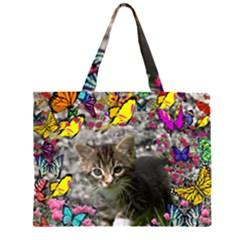 Emma In Butterflies I, Gray Tabby Kitten Large Tote Bag
