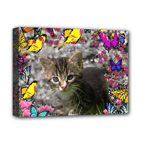 Emma In Butterflies I, Gray Tabby Kitten Deluxe Canvas 16  x 12